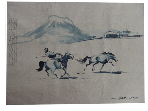 Watercolor painting:  Horse catching, ref. PAI-08-01-008