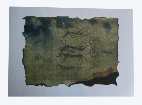 Watercolor painting:  Petroglyph, ref. PAI-08-01-027