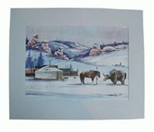 Watercolor painting:  Winter camping, ref. PAI-08-01-036