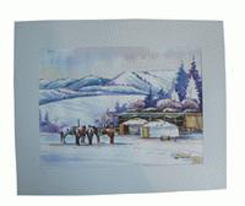 Watercolor painting:  Winter camping, ref. PAI-08-01-035