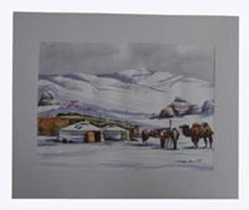 Watercolor painting:  Winter, ref. PAI-08-01-031