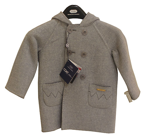 Kid's cashmere coat. Made by Gobi of 100% pure cashmere. Dry clean or handwash and dry flat.